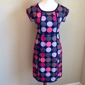 Boden Silk Navy Structured  Dress w/ Dots